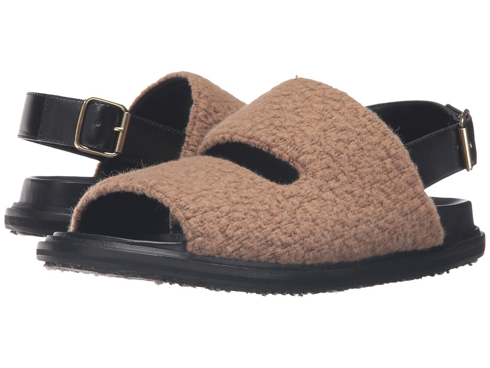 MARNI Wool Jersey Furry Stitch Sandal (Camel) Men