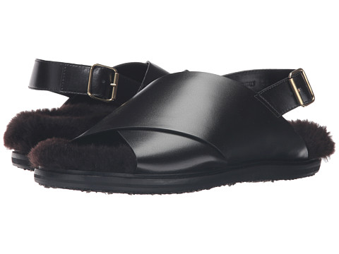 MARNI Calf Leather/Shearling Sandal
