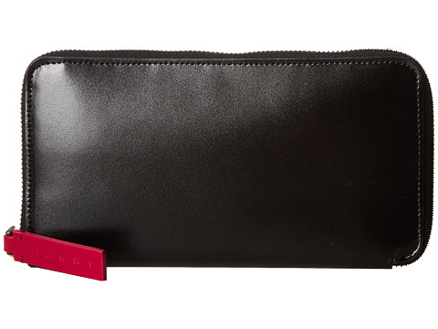 MARNI Bicolor Calf Leather Card Wallet - Black/Red