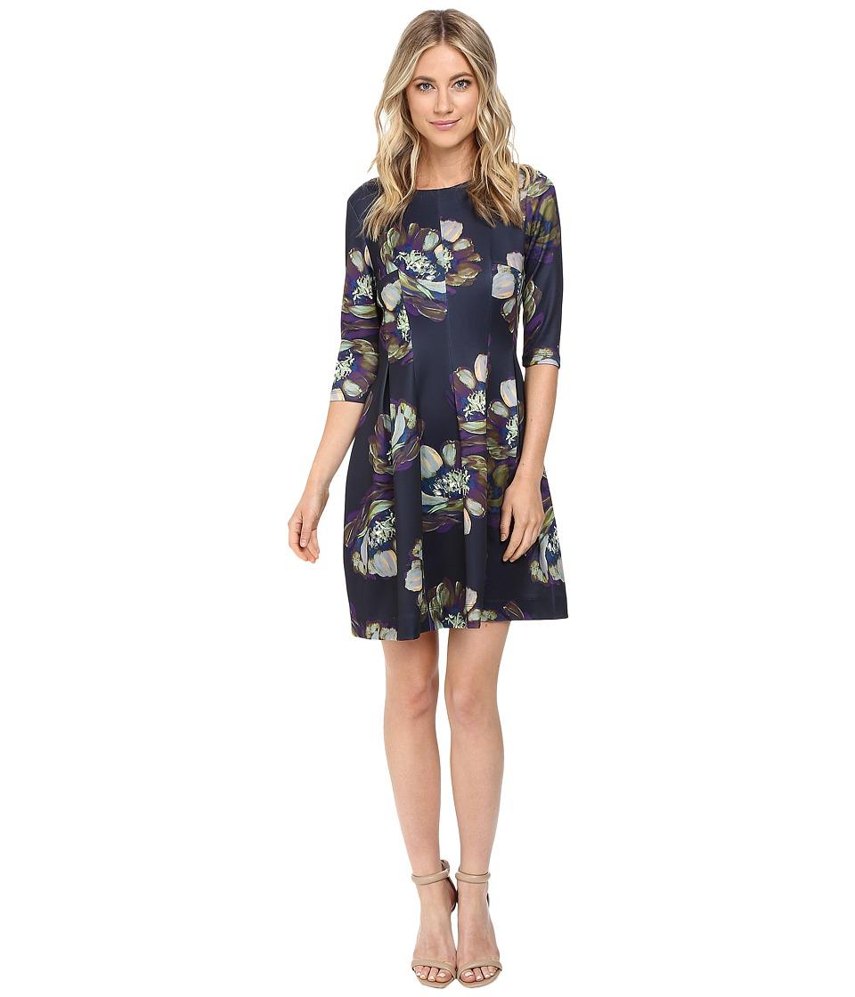 Christin Michaels Emellie 3/4 Sleeve Fit and Flare Dress (Navy/Multi) Women