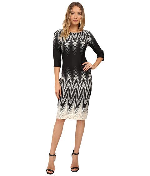 Christin Michaels Elodey Chevron Border Bodycon Midi Dress - Beige/Black