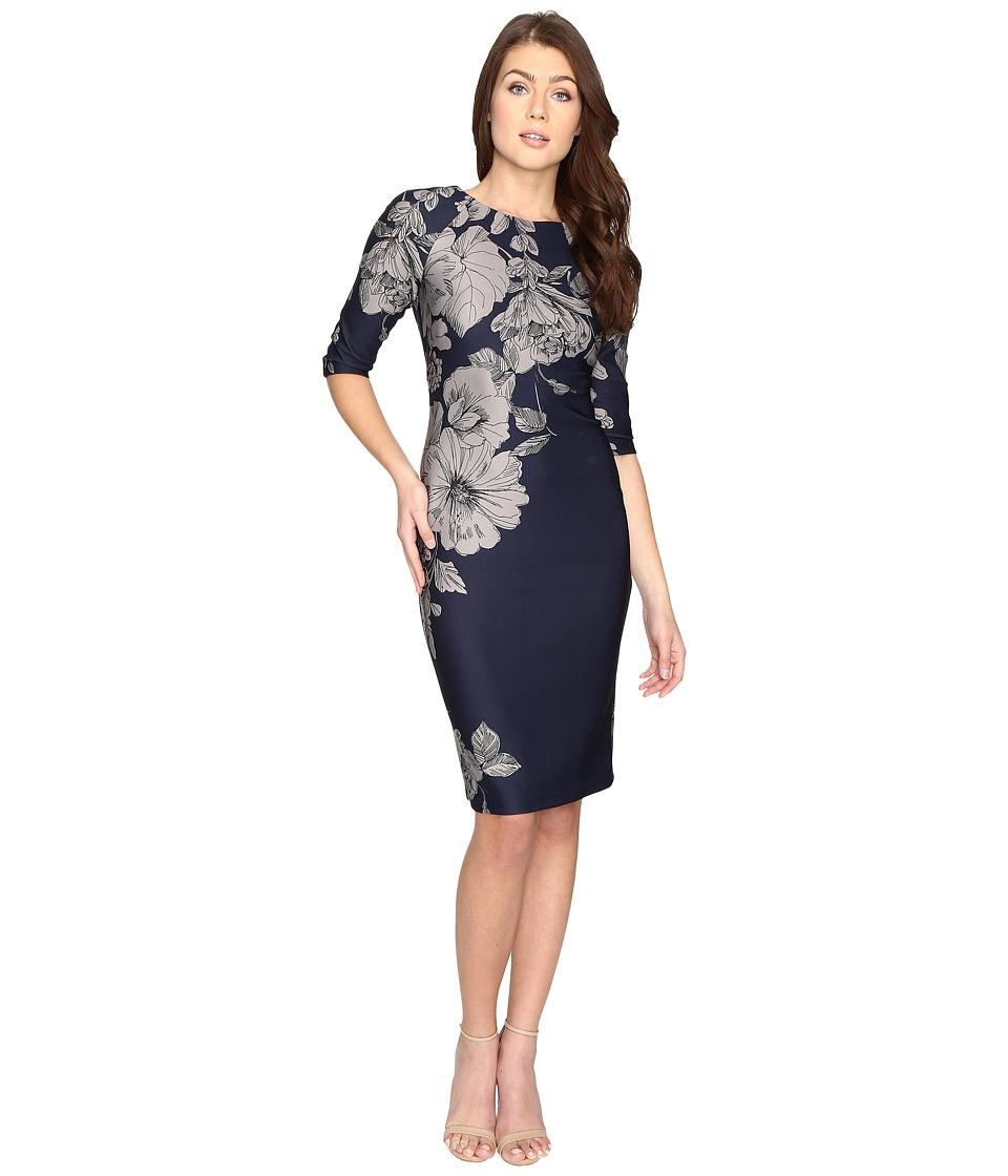 Christin Michaels Bay Floral Bodycon Midi Dress (Navy/Grey) Women