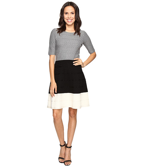 Christin Michaels Kaira Color Block Fit and Flare Sweater Dress - Grey/Black/White