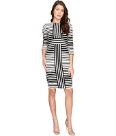 Christin Michaels - Ireni Contrast Stripe Bodycon Midi Dress