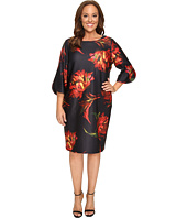 Christin Michaels - Plus Size Jeane Floral Print 3/4 Sleeve Dress