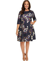 Christin Michaels - Plus Size Emellie 3/4 Sleeve Fit and Flare Dress