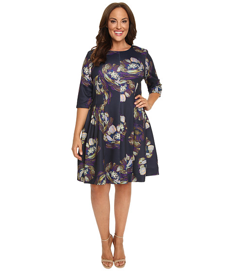 Christin Michaels - Plus Size Emellie 3/4 Sleeve Fit and Flare Dress (Navy/Multi) Women's Dress