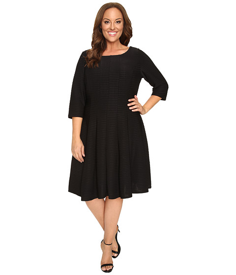 Christin Michaels Plus Size Andrea 3/4 Sleeve Fit and Flare Dress - Black