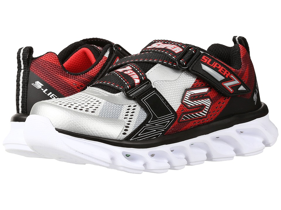 SKECHERS KIDS - Hypno - Flash 90580L Lights (Little Kid) (Silver/Red) Boys Shoes
