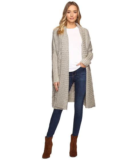 Christin Michaels Zienna Collared Cable Knit Long Cardigan - Beige