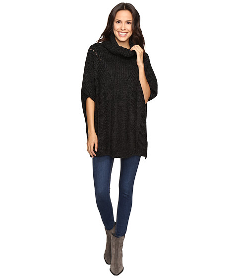 Christin Michaels Nell Crochet Eyelet Poncho - Charcoal