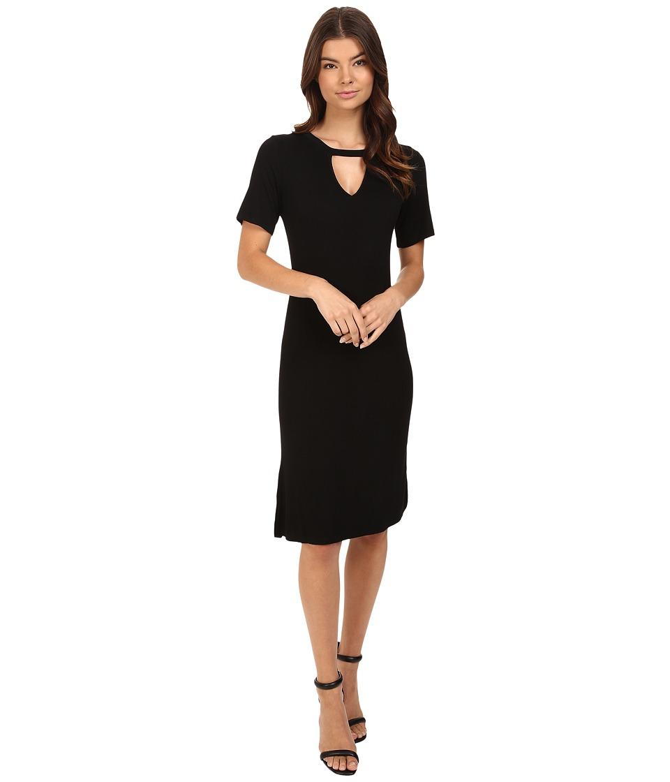 Culture Phit Dahlia Short Sleeve Midi Dress with Keyhole (Black) Women
