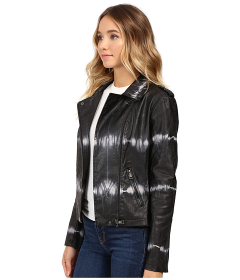brigitte bailey skylar faux leather tie dye jacket