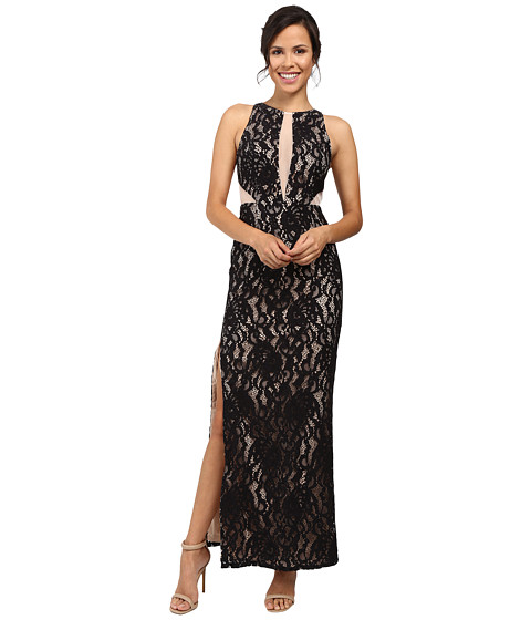 Aidan Mattox Long Stretch Lace Halter Gown w/ Illusion Detail