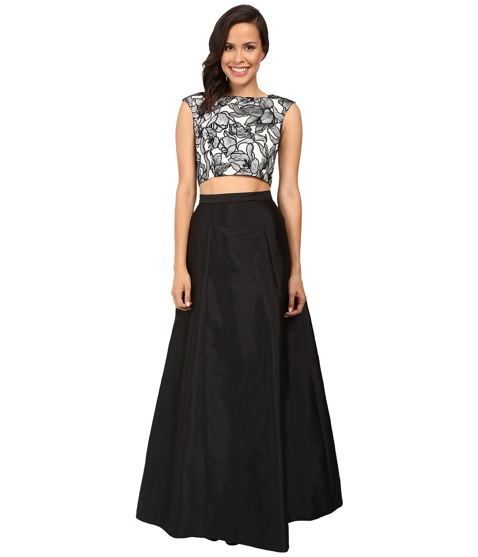 ... embroidered cap sleeve top w a line taffetta skirt black ivory $ 265