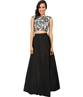 Aidan Mattox - Two-Piece Embroidered Cap Sleeve Top w/ A-Line Taffetta Skirt