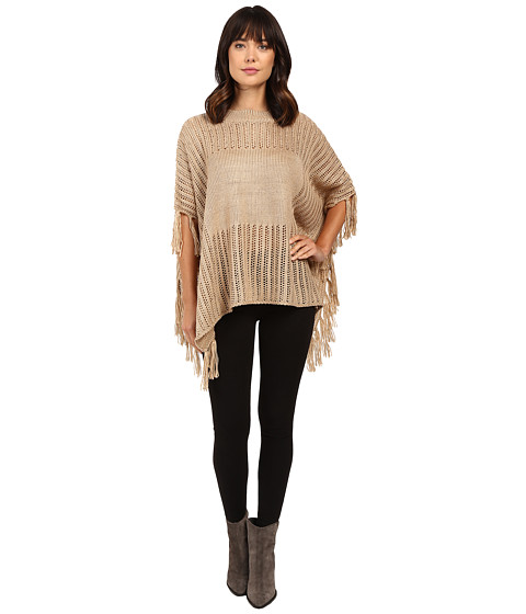 Brigitte Bailey Ginger Crocheted Poncho with Fringe - Tan