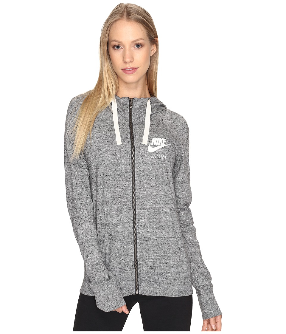 Nike Gym Vintage Full Zip Hoodie (Carbon Heather/Sail) Women