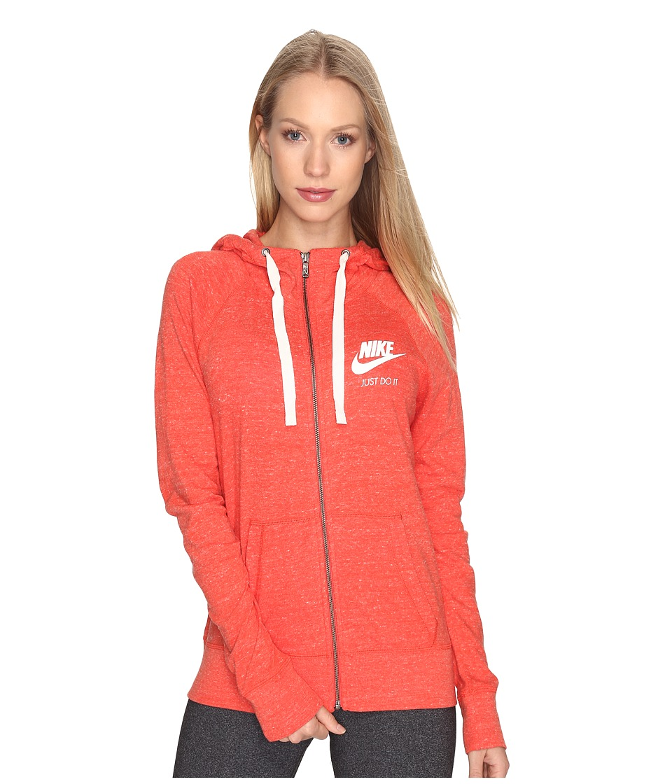 Nike Gym Vintage Full Zip Hoodie (Max Orange/Sail) Women