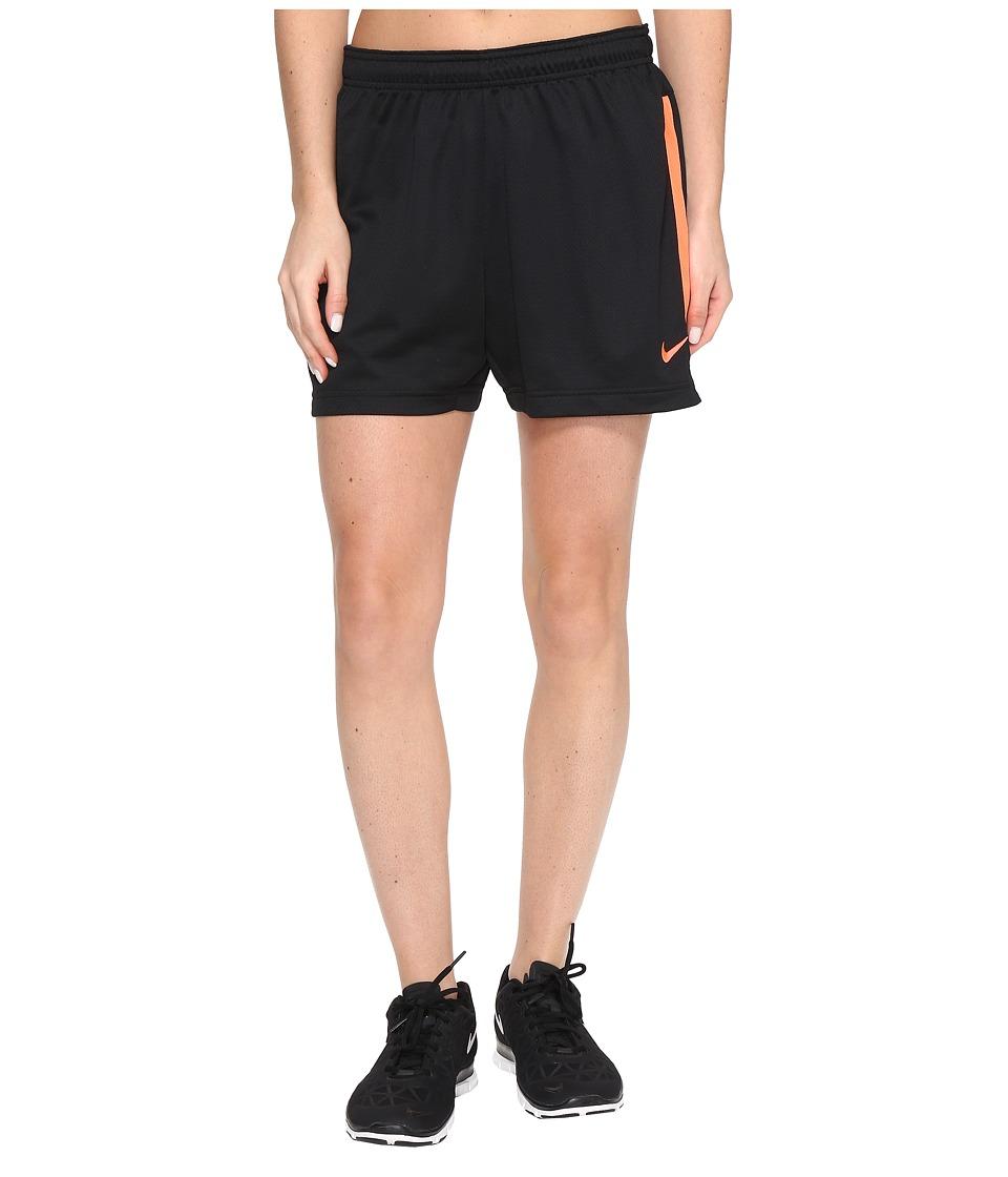Nike Dri-FIT Academy Knit Shorts (Black/Hyper Orange/Hyper Orange) Women