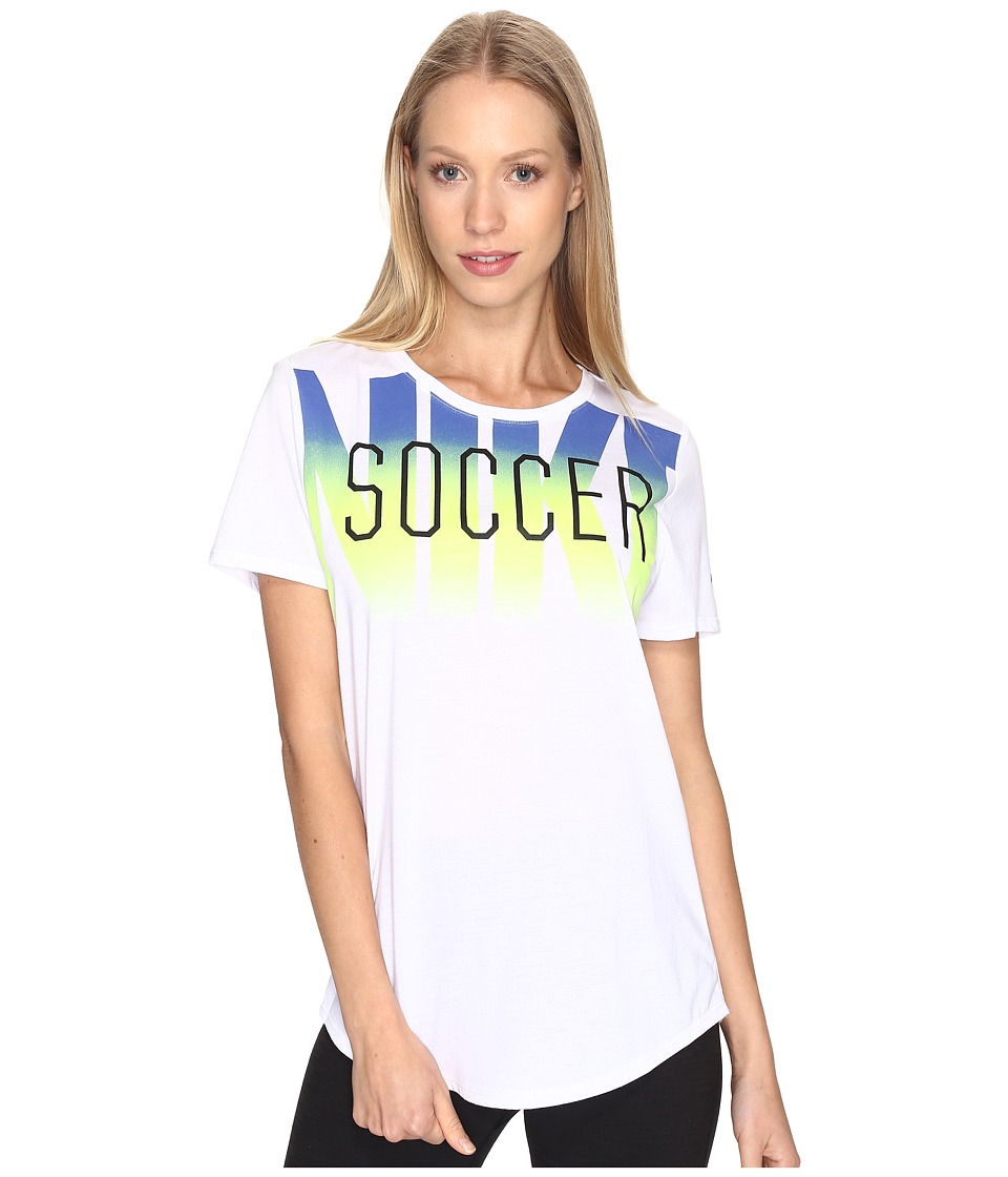Nike Dry Soccer Graphic T-Shirt (White/White/Paramount Blue) Women