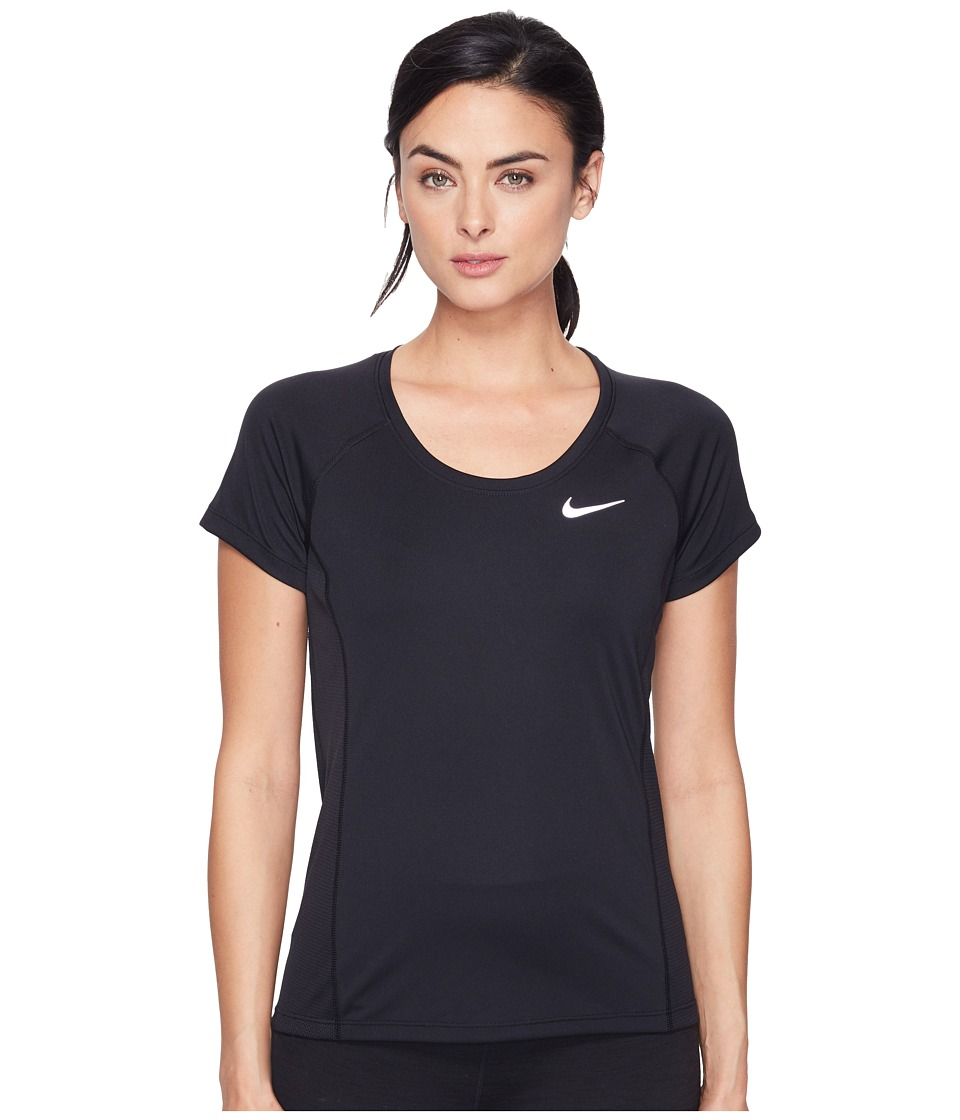 Nike - Dry Miler Short Sleeve Running Top (Black/Black) Women's Clothing