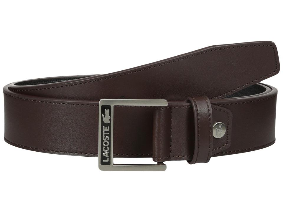 Lacoste - Classic Logo Embossed Buckle Belt (Brown) Mens Belts