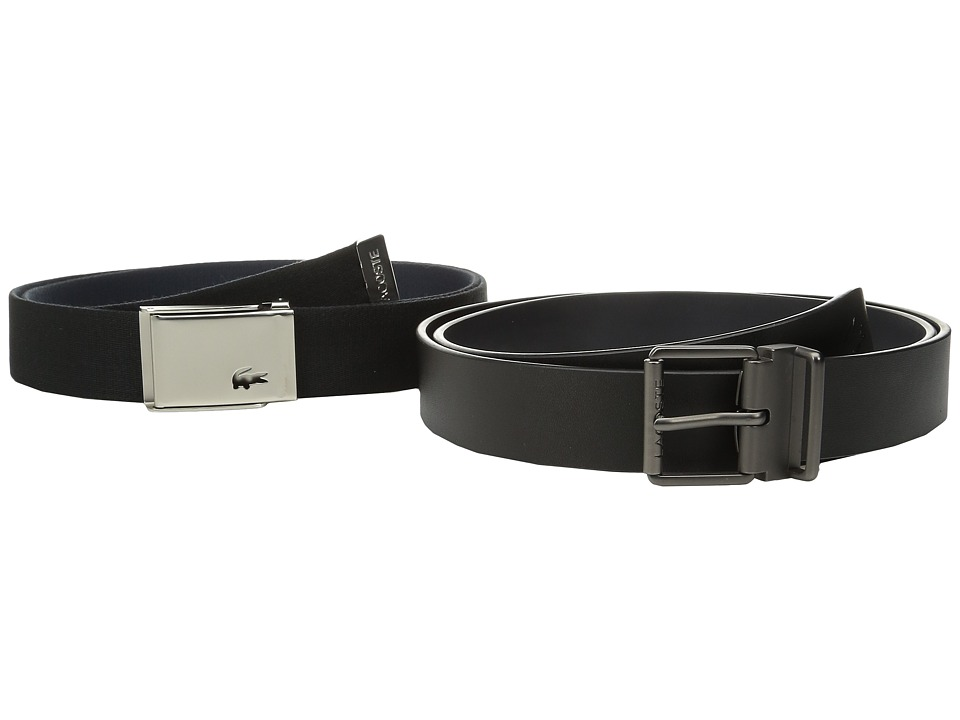 Lacoste Sportswear Tonal Croc Belt (Black/Navy) Men