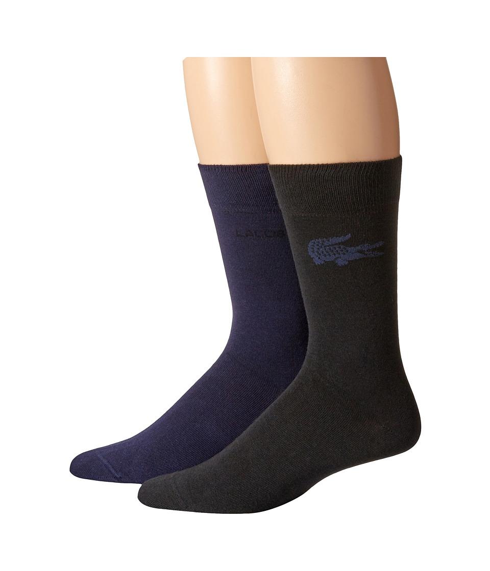 Lacoste - Fine Jacquard Sock (Navy Blue/Black) Mens Crew Cut Socks Shoes