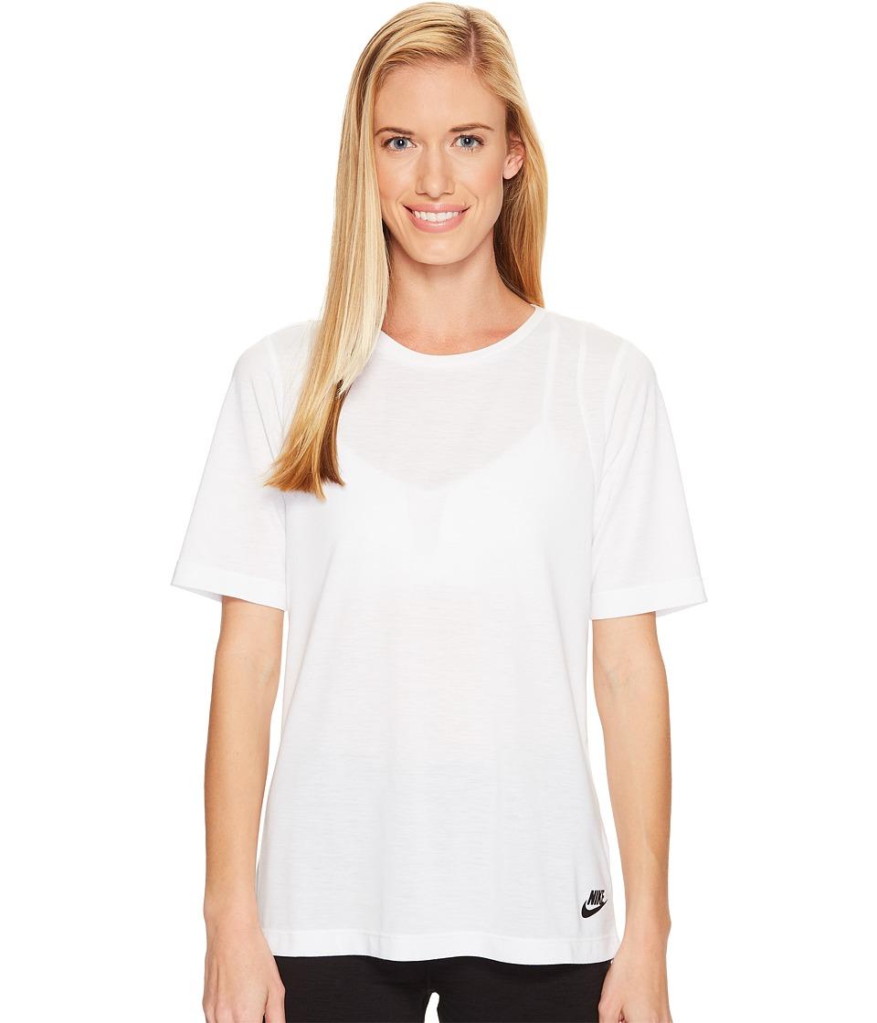 Nike Sportswear Essential Tee (White/White/Black) Women