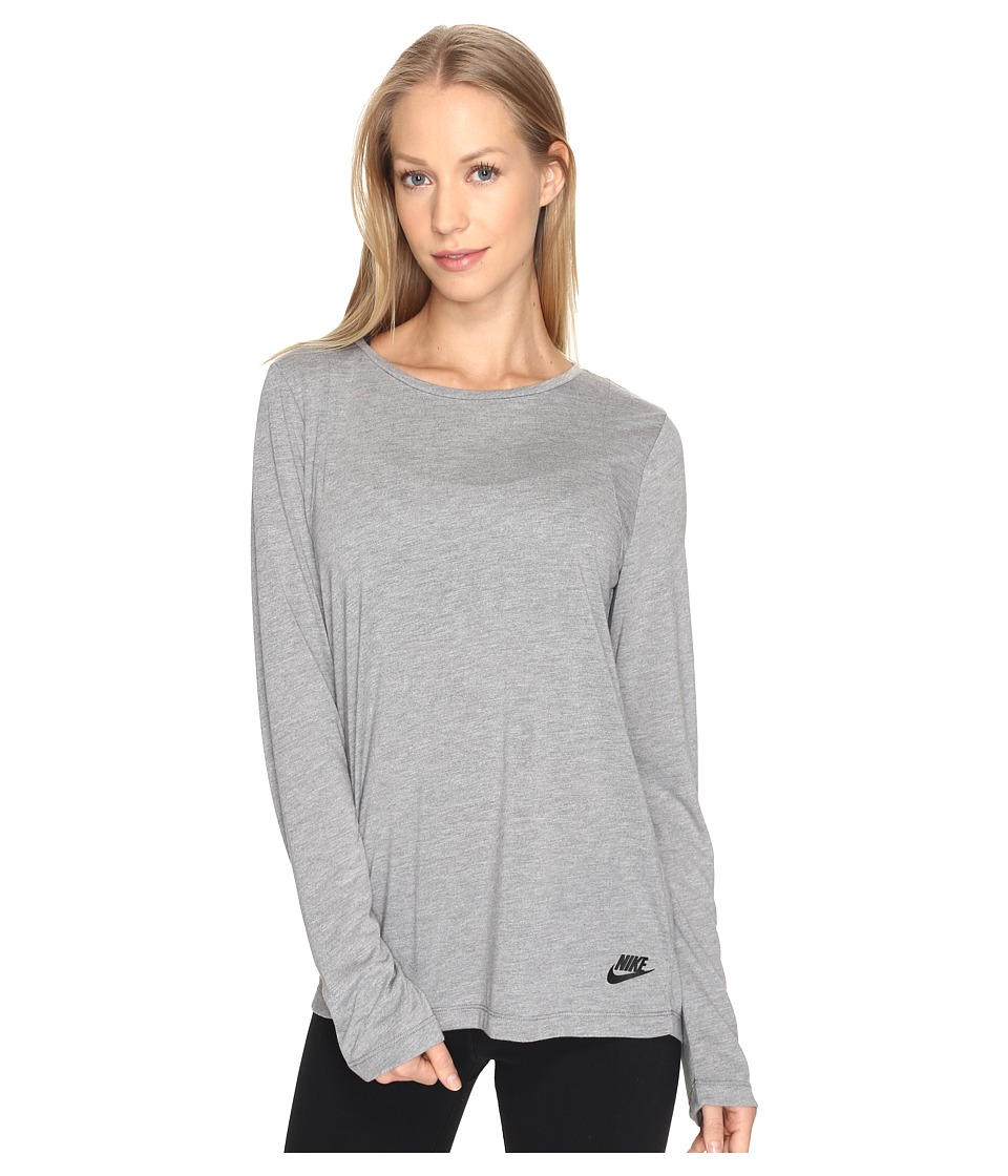 Nike - Sportswear Essential Long Sleeve Top (Carbon Heather/Anthracite/Black) Women's Clothing