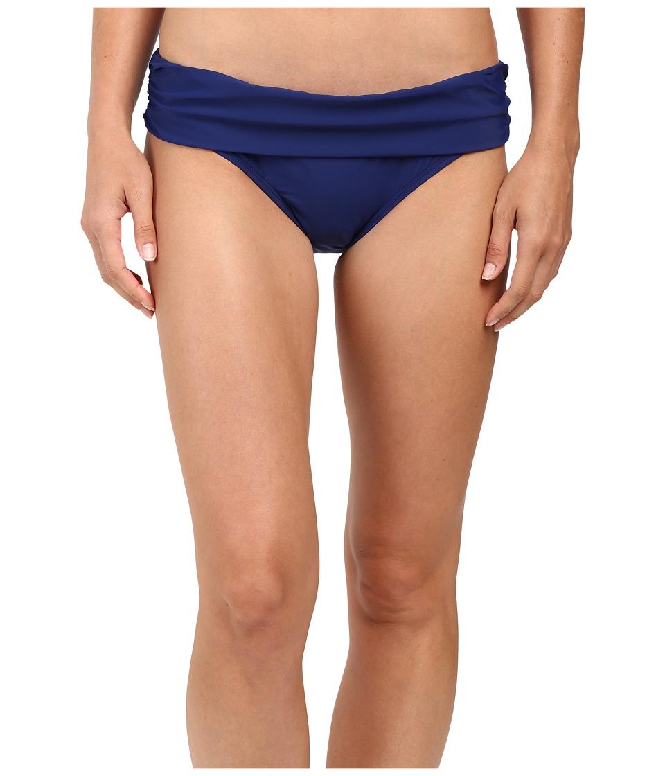 Athena Cabana Solids Lani Banded Bikini Bottom (Navy) Women