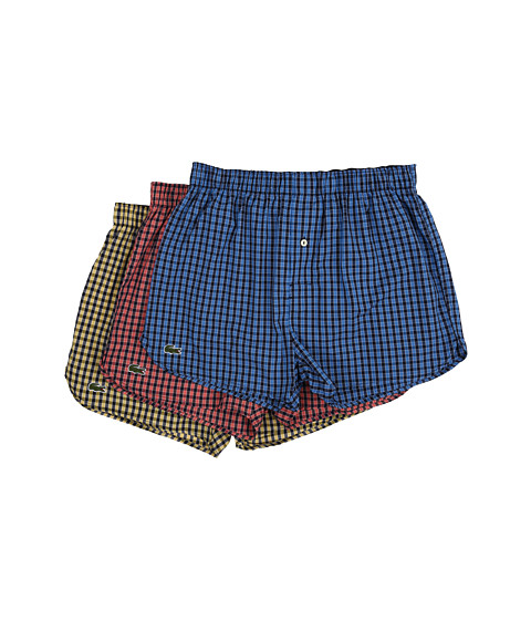 Lacoste Authentics Gingham Heather Woven Boxers - Strong Blue/Deep Sea Coral/Mimosa