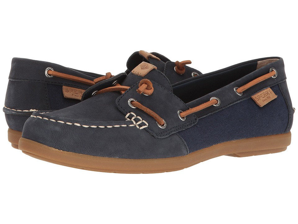 Sperry Coil Ivy Leather Canvas (Navy) Women