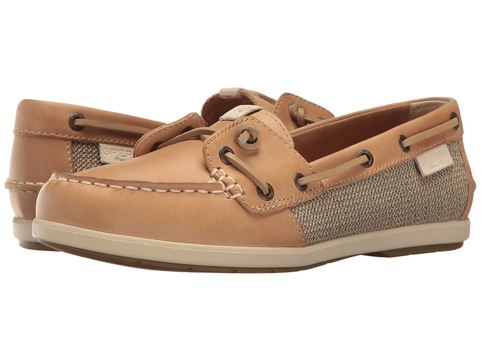 Sperry Top-Sider Coil Ivy Leather Canvas (Tan) Women's Mo...