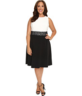 London Times - Plus Size Pintuck & Crepe Full Skirt