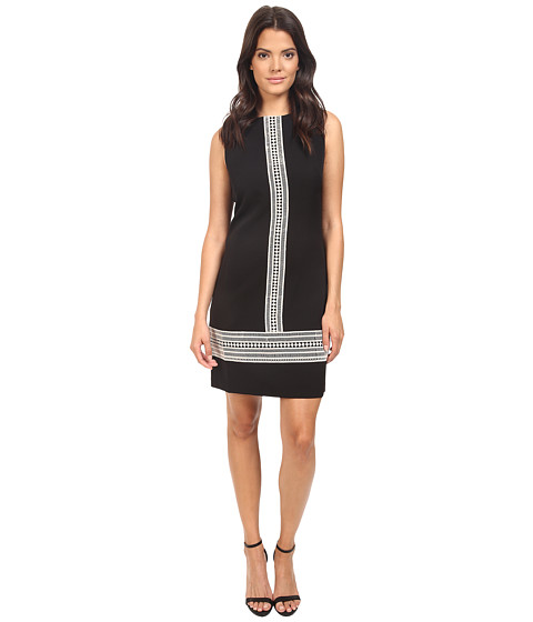 London Times Crepe Shift with Lace Trim