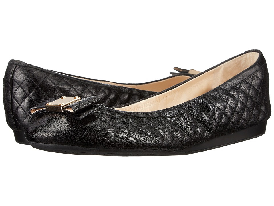 Cole Haan Tali Bow Quilted Ballet (Black Quilted Leather) Women