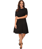 London Times - Plus Size Swirl Texture Dress Elbow Sleeve