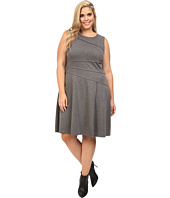 London Times - Plus Size Solid Ponte Flare Dress