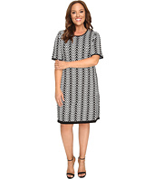 London Times - Plus Size Chevron Elbow Sleeve Fit & Flare