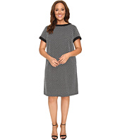London Times - Plus Size Geo Square Short Sleeve Shift