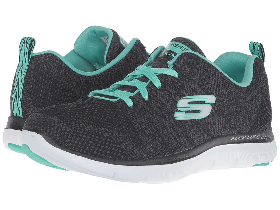 Skechers Flex Appeal 2.0 - High Energy (Black/Aqua) Women...