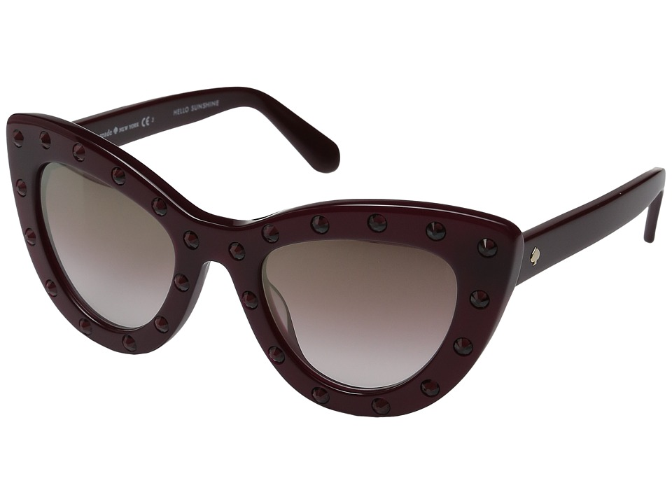 Unique Retro Vintage Style Sunglasses & Eyeglasses Kate Spade New York - LuannS BurgundyBrown Mirror Gold Shaded Fashion Sunglasses $139.99 AT vintagedancer.com