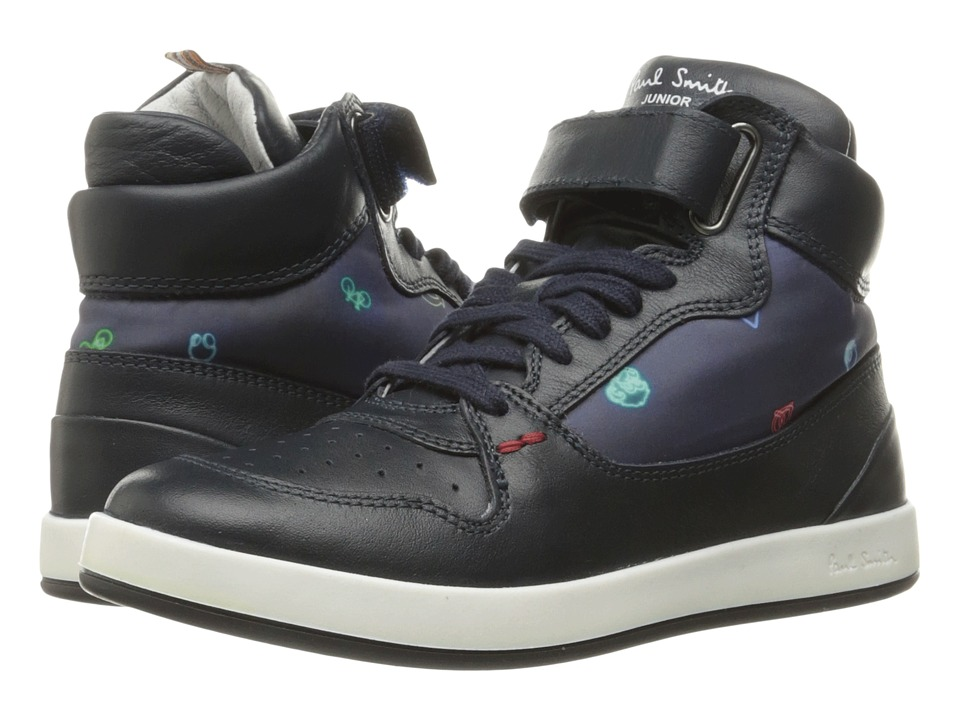 Paul Smith Junior - High Top Leather Sneaker (Little Kid/Big Kid) (Navy) Boys Shoes