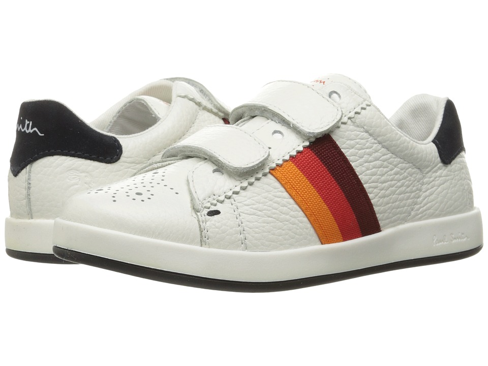 Paul Smith Junior - Leather Sneaker with Straps (Little Kid) (White) Boys Shoes