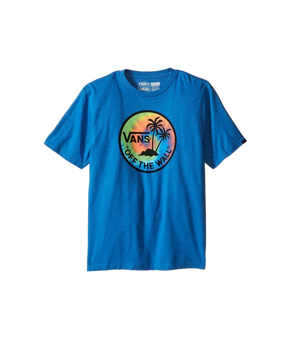 Vans Kids - Dual Palm Logo Fill Tee (Big Kids) (Royal Heather/Tie-Dye) Boy