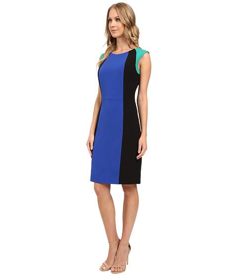 Tahari by ASL Crepe Color Block Sheath Dress Blue/Black ...