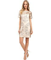 Tahari by ASL - Laser Cut Faux Leather Shift Dress