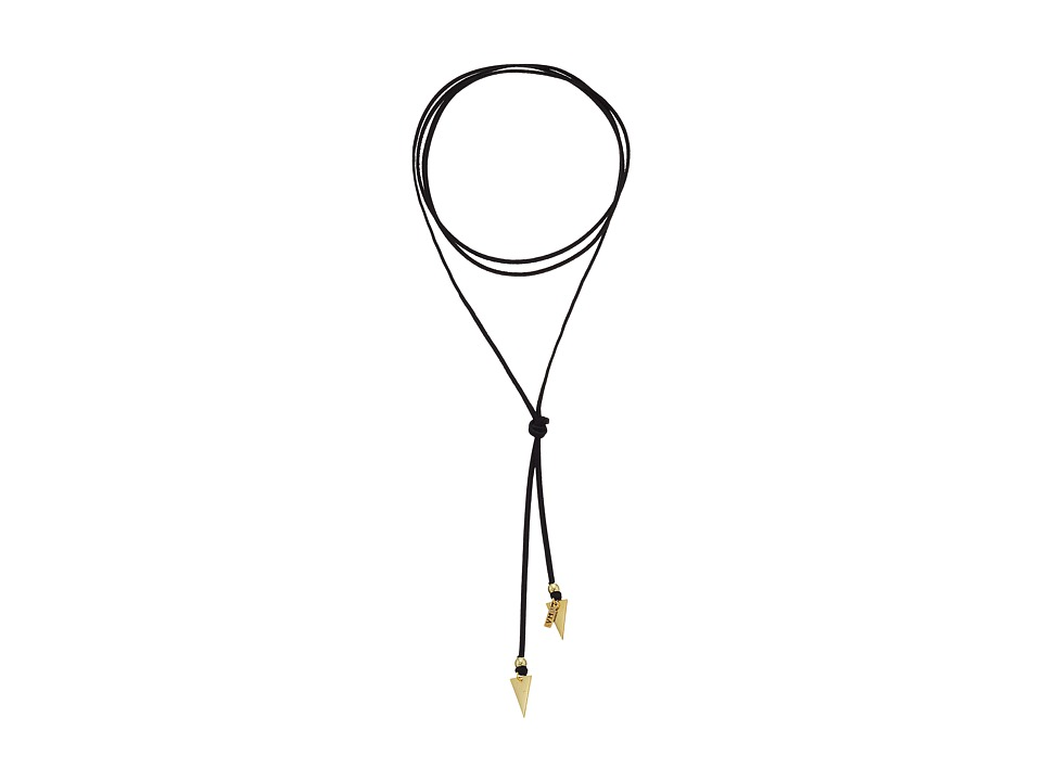 Vanessa Mooney - Black Suede Bolo with Arrows Necklace (Gold) Necklace